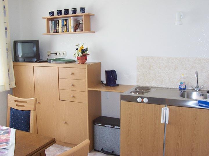 Unser Appartement 1 auf dem Hof Kilbe ist mit einer Mini-Küche ausgestattet