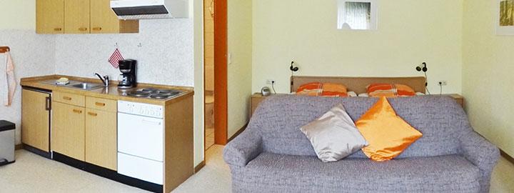Unser Appartement A auf dem Hof Kilbe ist mit einer kompletten Küchenzeile ausgestattet