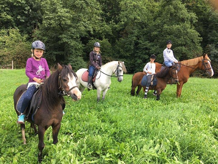 Kinder können in Begleitung von Erwachsenen auf dem Rücken der Ponys die Umgebung erkunden